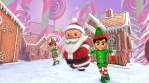 Cute Santa and elfs dancing salsa in a candy village. Seamless funny Christmas animation with ginger