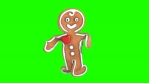 Cute Gingerbread man dancing salsa isolated on green screen. Seamless funny Christmas animation with