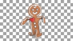 Cute Gingerbread man dancing salsa isolated with alpha channel. Seamless funny Christmas animation.