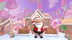 Cute Santa waving hello in a candy village. Seamless funny Christmas animation with gingerbread hous