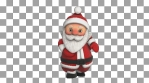 Cute Santa dancing salsa isolated with alpha channel. Seamless funny Christmas animation.