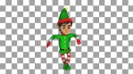 Cute Elf dancing salsa isolated with alpha channel. Seamless funny Christmas animation.