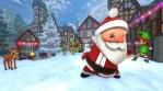 Cute Santa dancing salsa in a Christmas village. Seamless funny Christmas animation.