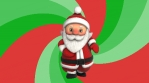 Cute Santa dancing salsa with a spiral retro background. Seamless funny Christmas animation.