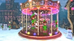 Christmas village with a carrousel  and elfs. Seamless funny Christmas animation.