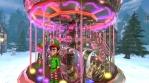 Christmas village with a carrousel, elves and Santa waving hello. Seamless funny Christmas animation