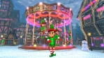 Cute elf dancing salsa in a Christmas village with a carrousel in the background. Seamless funny Chr
