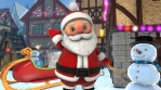 Cute Santa waving hello in a Christmas village with the sleightl in the background. Seamless funny C