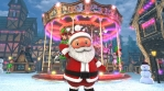 Cute Santa waving hello in a Christmas village with a carrousel in the background. Seamless funny Ch