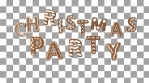 Animation of gingerbread letters isolated with alpha channel. Christmas party text.
