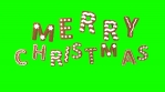 Animation of gingerbread letters isolated with green screen. Merry Christmas text isolated with chro