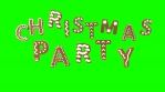 Animation of gingerbread letters isolated with green screen. Christmas party text isolated with chro