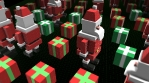 Seamless animation of geometric santa pieces. Christmas funny background.