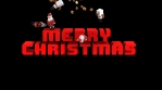 Seamless animation of geometric Christmas elements falling over a pixilated Merry Christmas letters.