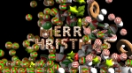 Animation of Merry Christmas gingerbread text with candies falling.