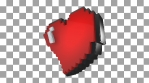 Twisting pixel heart isolated with alpha channel. Retro arcade video game Valentine´s Day background