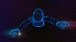 Astronaut in the interior of a spaceship. Seamless neon retro futuristic animation with shallow dept