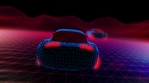 Geometric laser landscape with racing cars. Seamless neon retro futuristic animation with shallow de
