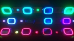 Looping futuristic neon glowing blinking light grid