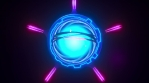 Looping futuristic neon glowing blinking light object