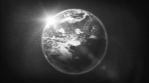 Earth Planet On Retro Black And White Tv Filter