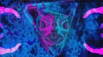 Blue and Pink Demon Skull with Abstract Hand Background