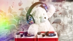 DJ Teddy Bear spinning with flamingos on water