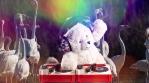 DJ Teddy Bear spinning with flamingos over the rainbow