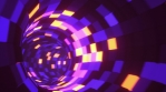Moving forward through the abstract endless tunnel with bright flashing led lights