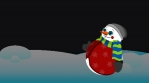 Funny Animation Snowman that wishes you Merry Christmas in a snow landscape
