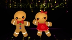 Gingerman and Gingerwoman dancing in the disco Merry Christmas