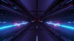 Sci Fi Tunnel Long Corridor Bright Black Blue