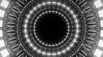 Rotating, pulsating circles opening in an infinite loop, black and white 3d cgi rendered animation