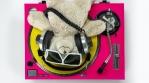 DJ Teddy Bear Spinning  Turntable