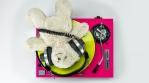 DJ Teddy Bear over a colorful turntable