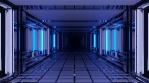 Sci Fi Tunnel Long Corridor Blue