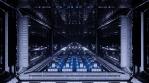 Sci Fi Tunnel Long Corridor Blue Flickering Lights