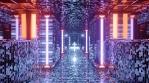 Sci Fi Tunnel Long Corridor Orange Purple