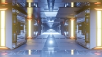 Sci Fi Tunnel Long Corridor Gold Blue