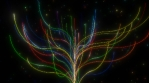 Abstract Neon Rainbow Glow Light Tree and Shining Particle Stars