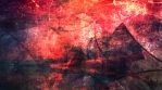 Abstract Red and Pink Grungy Texture with Rotating Black Pointed Stars