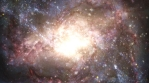 Asteroids Fly Across Bright Glowing Galaxy with Swirling Nebula Star Dust