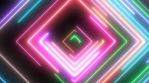 Neon Square Shapes Glow with Moving Electric Laser Light Beams