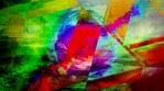 Pulsating Rainbow Orb Behind Glass Triangles Radiating Colors