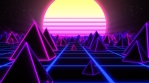 Retro Pyramids on 80s Synthwave Neon Landscape with Glowing Sun