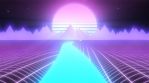 Synthwave Landscape of Glowing River Mountains and Retro 80s Sun