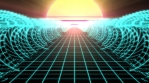 Synthwave Retro Wireframe Net Grid Ocean Tidal Waves and 80s Sun