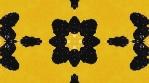Blackberry kaleidoscope. Black on bright yellow backdrop. Organic abstract kaleidoscopic patterns.
