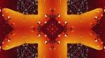 Color peppers kaleidoscope. Orange, yellow on red backdrop. Organic  kaleidoscopic patterns.