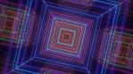 Futuristic Rainbow Neon Glow Square Tunnel of Electric Laser Beams